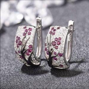 Beautiful silver pink floral earrings